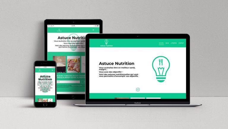 Visuel du site AstuceNutrition sur différents formats (ordinateur, tablette, téléphone)