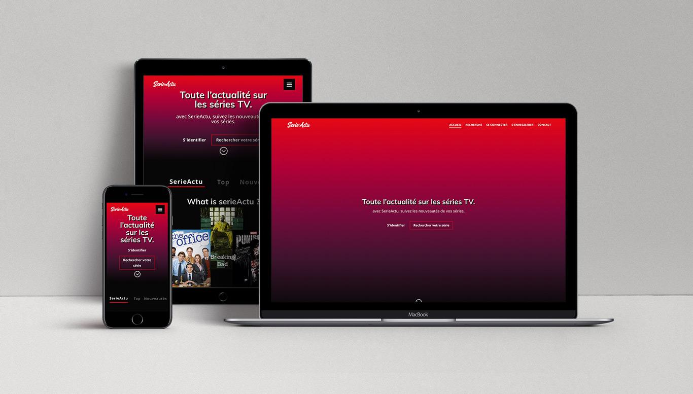 Visuel du site SerieActu sur différents formats (ordinateur, tablette, téléphone)